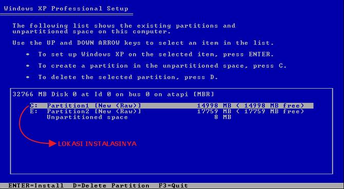 install lokasi windows xp nya disini