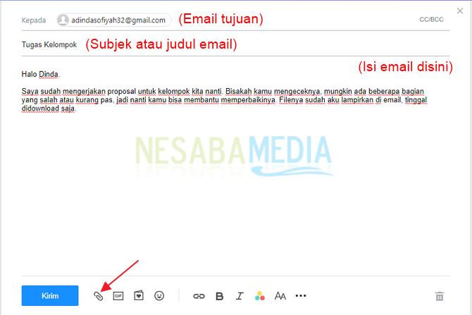 Klik ikon klip untuk menyertakan file pada email