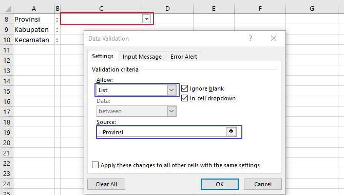 cara membuat dropdown list bertingkat di Excel 2010