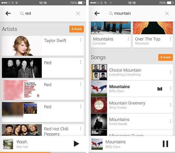 Tampilan Google Play Music