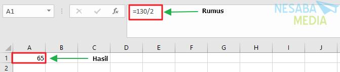 rumus pembagian di Excel