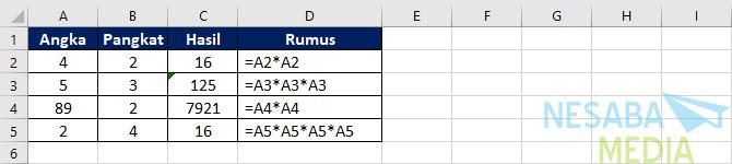 cara menghitung bilangan pangkat dengan operator perkalian