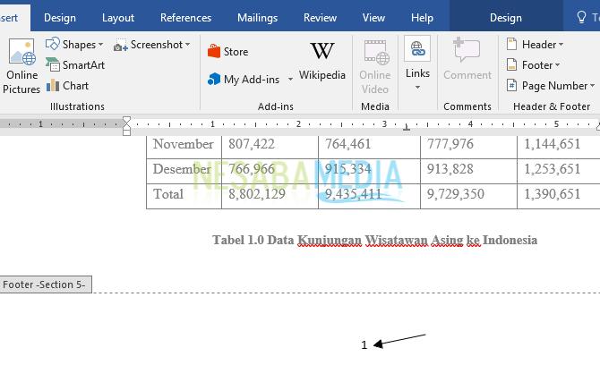 cara membuat nomor halaman di Word