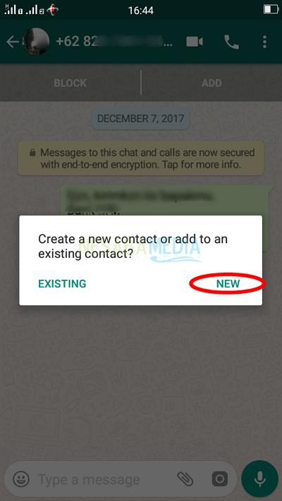 Langkah 3 - konfirmasi add contact