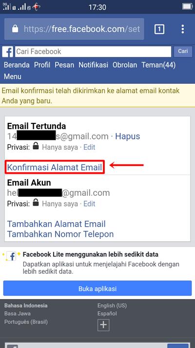 Langkah 7 - pilih konfirmasi alamat email
