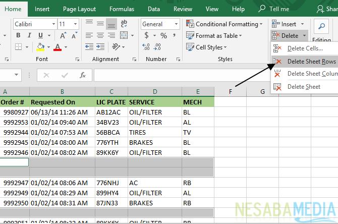 Cara Menghapus Kolom dan Baris Kosong di Excel 11