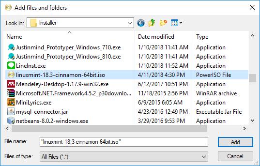 Langkah 3 - cari dan pilih file iso