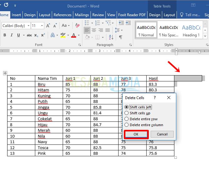 cara membuat tabel di word 2013