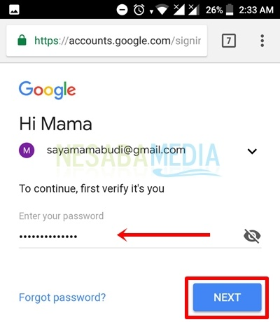 insert your password