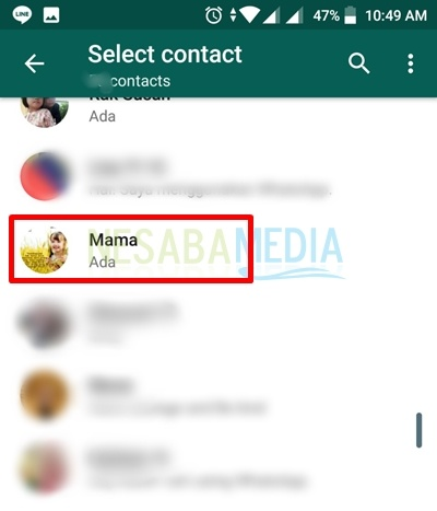 contact was added in wa
