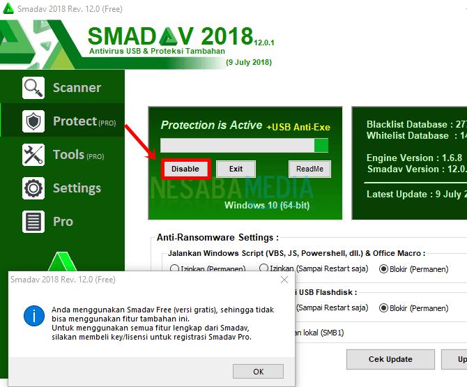cara mematikan antivirus smadav untuk sementara