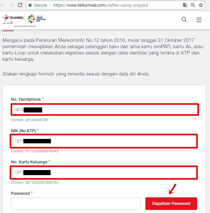 cara registrasi kartu Telkomsel / simPATI via website