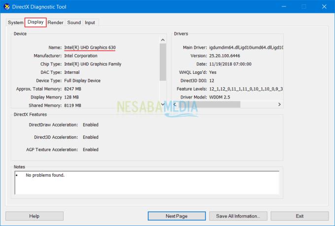 cara melihat spesifikasi laptop dengan dxdiag