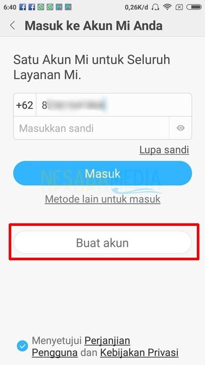 click create account