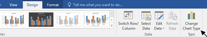 tab Design > Change Chart Type