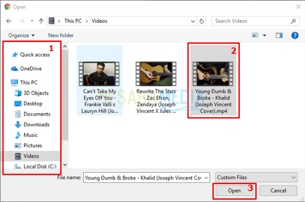 select your video in your pc