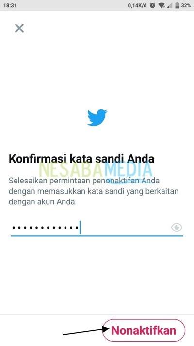 Disable twitter account via app