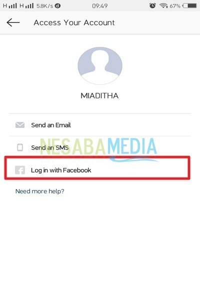 Select Log in with Facebook