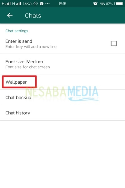 how to change the background of whatsapp without an application