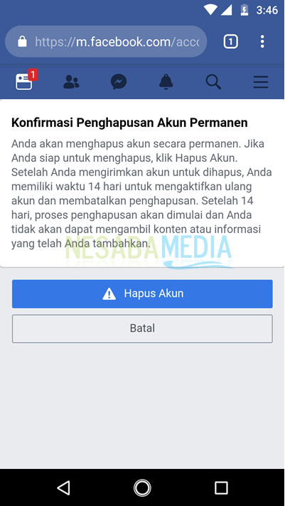 menghapus akun facebook 8