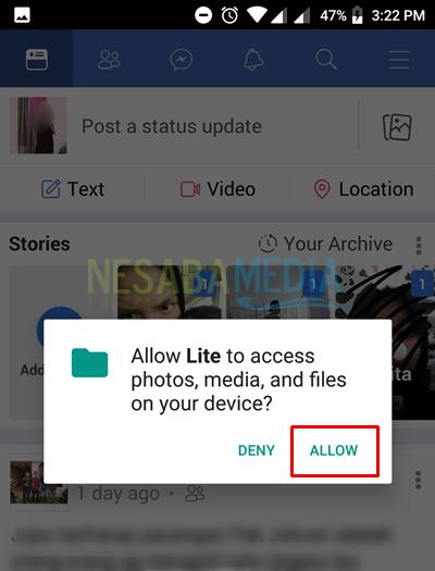 click allow for permission