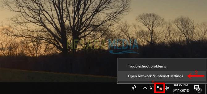 1 - Klik kanan pada ikon wifi tersebut lalu pilih Open Network & Internet settings