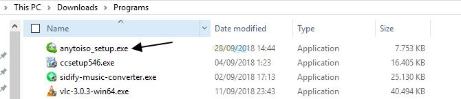 double click pada installer AnyToISO