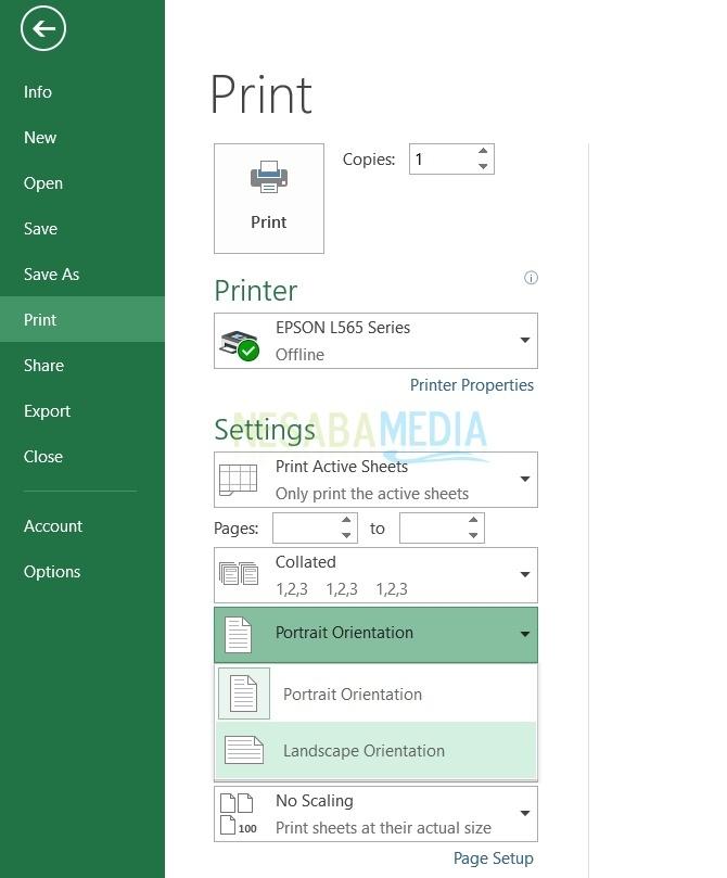 cara print lembar Excel dengan landscape
