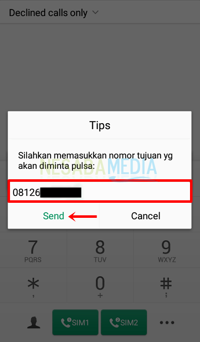 cara hutang pulsa Telkomsel / simPATI via SMS