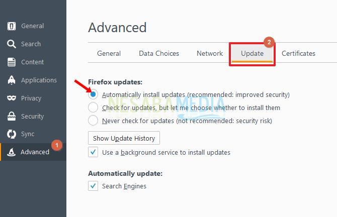 Pilih bagian tab update pada menu Adavanced