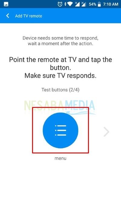 test menu button
