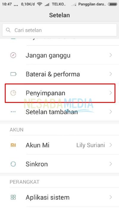 open settings menu and choose storage
