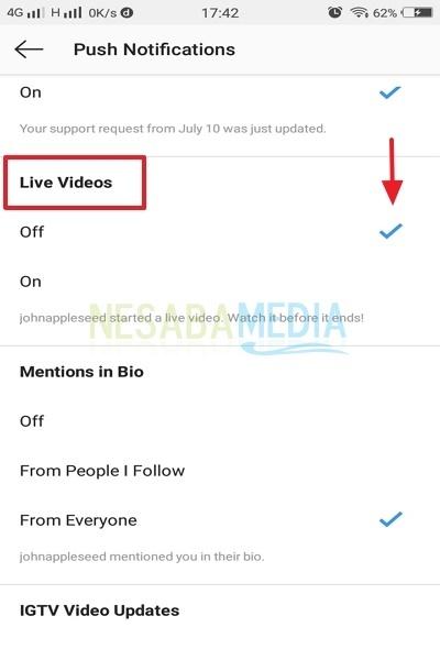 cara mematikan notifikasi live video di Instagram