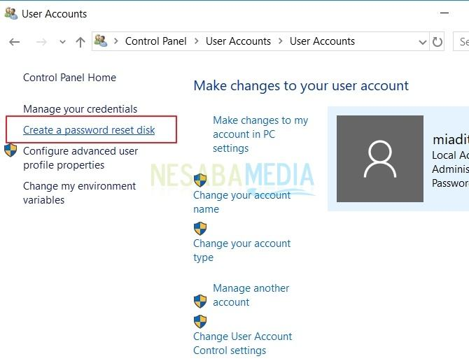 caramembuat password reset disk di Windows