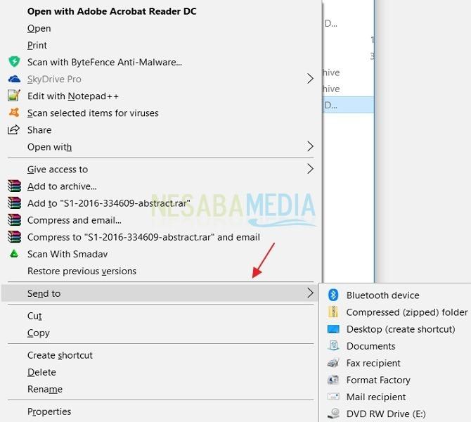 """cara menghapus opsi """"Send to"""" dari Windows"""