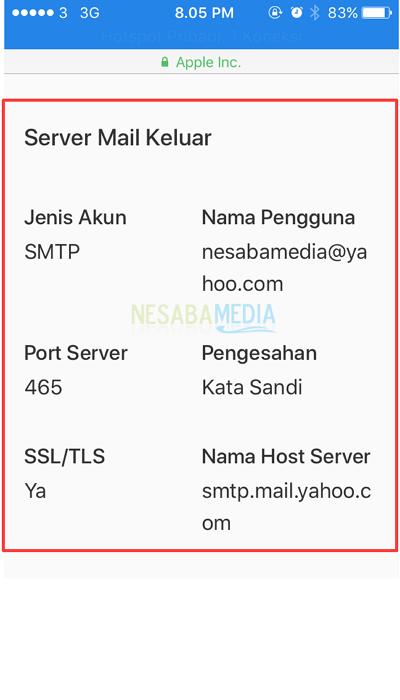 informasi server mail keluar