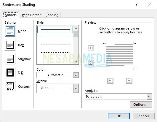 2 - tampilan borders and shading