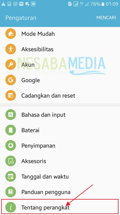 pilih menu tentang perangkat