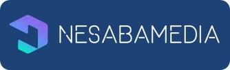 White text logo with dark blue background