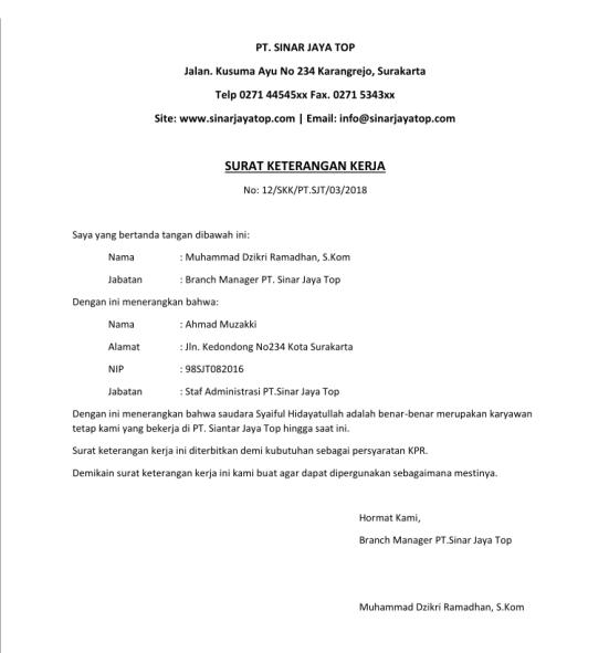 7 Contoh Surat Keterangan Kerja Yang Baik Benar File Doc