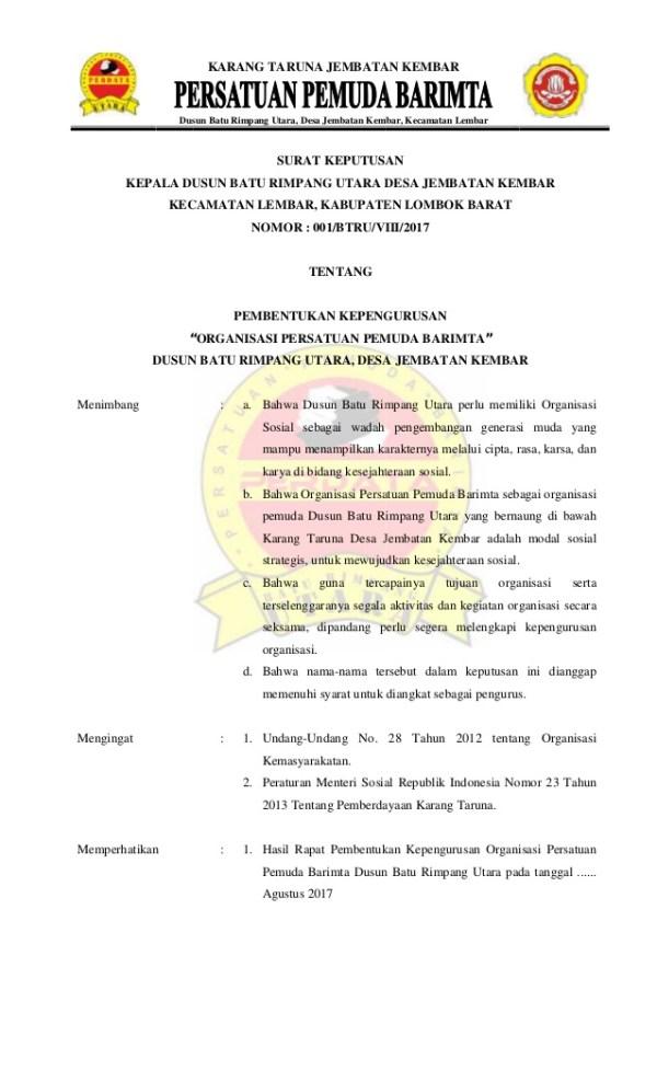 Contoh Surat Keputusan Organisasi