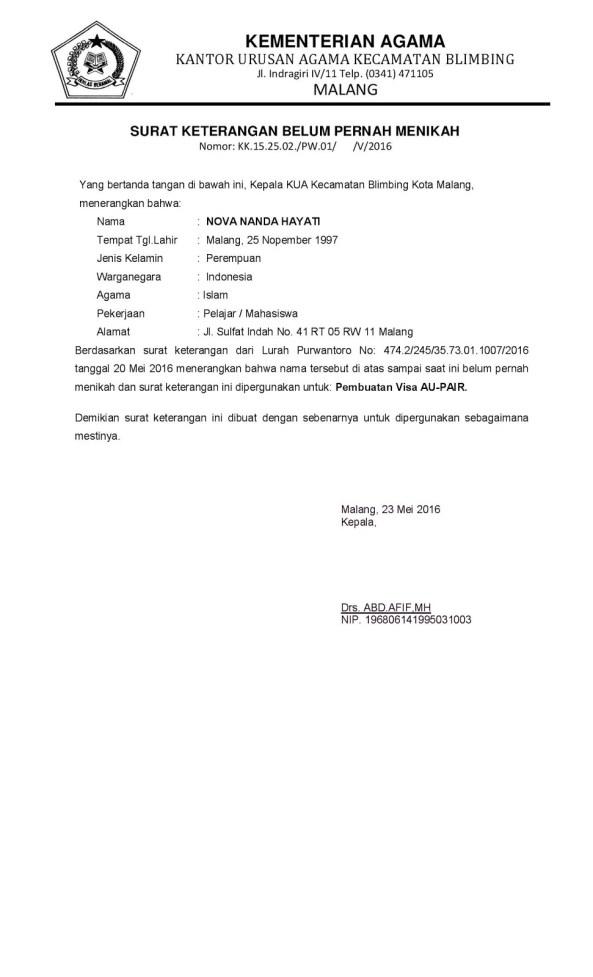 Certificate Not Married