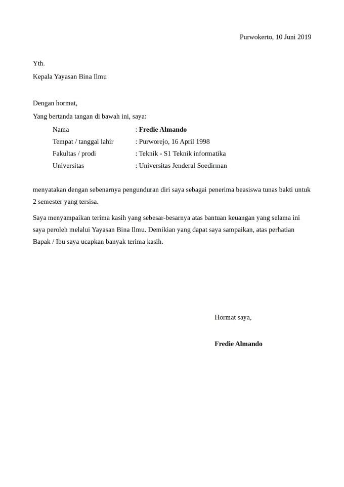 Contoh Surat Pengunduran Diri dari Kampus
