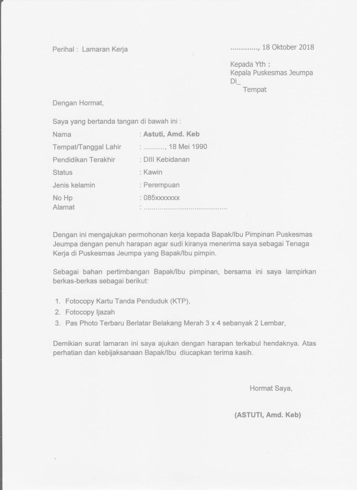 15 Contoh Surat Lamaran Kerja Yang Baik Benar File Doc