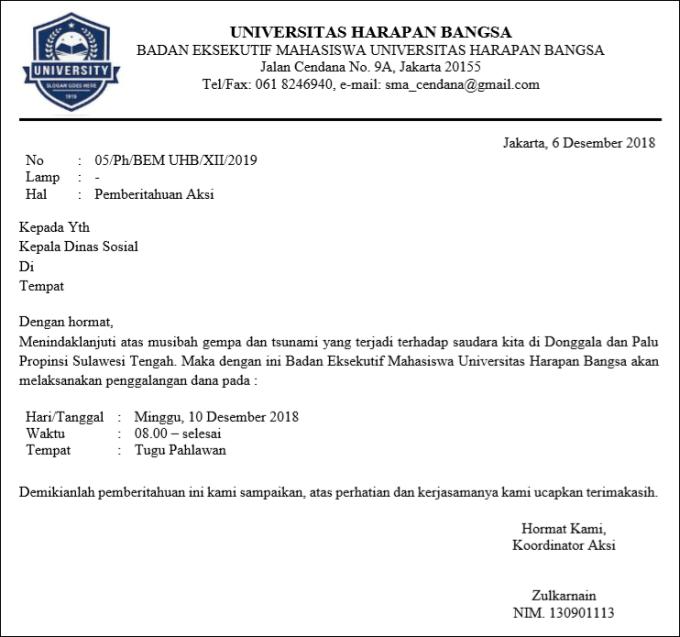 surat pemberitahuan resmi