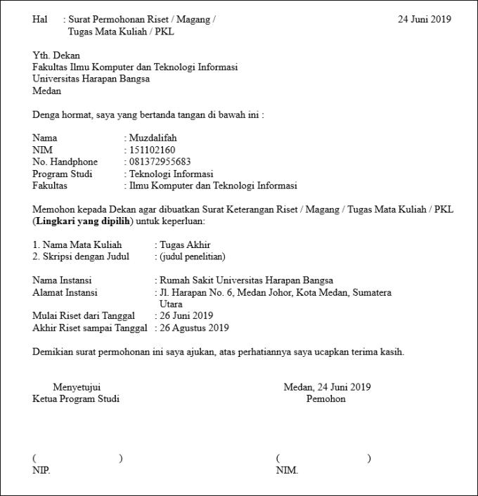 surat permohonan resmi