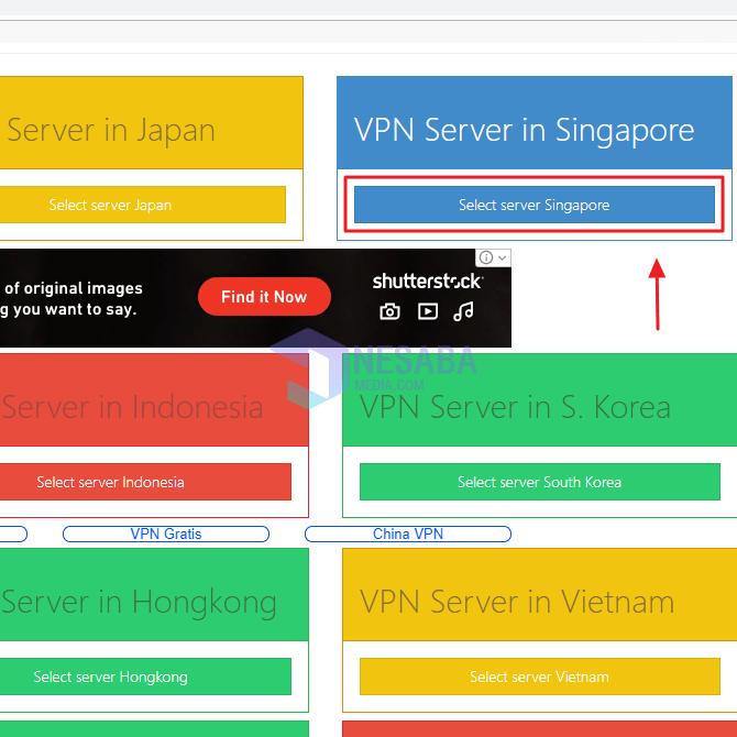 klik Select server Singapore