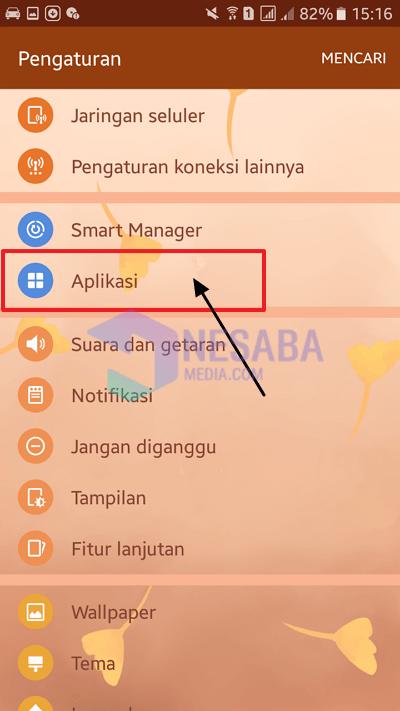 select the application menu