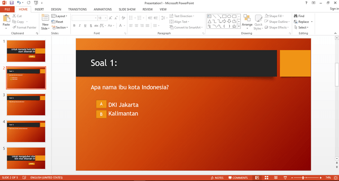 cara membuat kuis pilihan ganda di microsoft PowerPoint