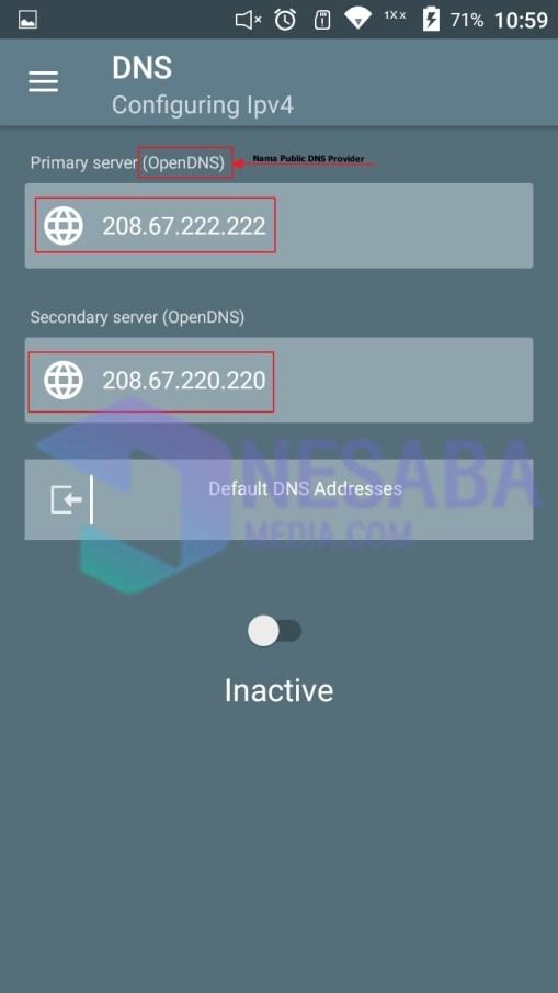cara mengganti DNS android dengan OpenDNS